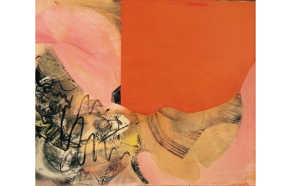 """Orange Scorch"", Acrylic, Collage, Resin on Panel (Framed), 32"" X 38"", 2015"