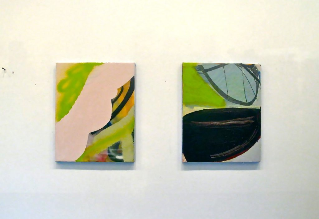 """He Said, She Said"", Acrylic, Collage, Resin on Panels. 20' X16"" each, 2012"