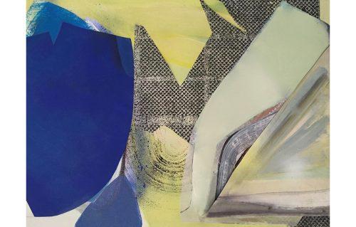 """""""Blue Borrowed"""", Acrylic, Collage, Spray Paint, Resin on Canvas, 30""""x40"""", 2017"""